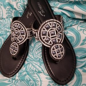 Black Sandals with Medallion Size 8.5